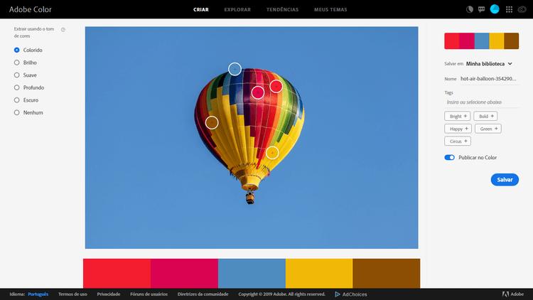 Paleta de Cores no Adobe Color CC