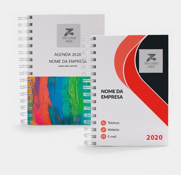Dois modelos de agendas para personalizar com nome da empresa