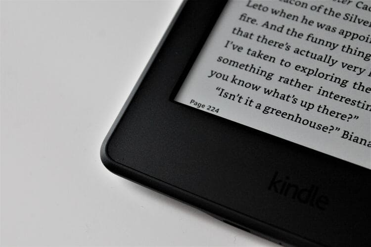Fonte com serifa na tela do Kindle