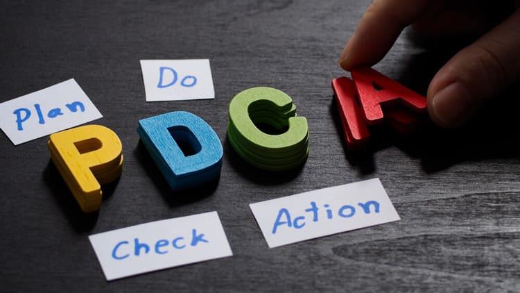 Letras coloridas montando a sigla PDCA
